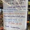 コロナ、アメリカのお店の貼り紙…
