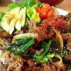 【チャーシュー煮汁で】ラム肉の野菜炒め