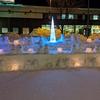 旭川市大雪アリーナの前、アイスキャンドルも登場!