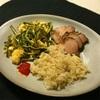 ゴーヤ卵炒めと紅茶豚と玄米ジャスミンライスのワンプレート。