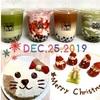 手作りの猫型ケーキといちごのサンタ!タピオカティーと食べたクリスマス