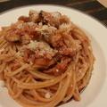 玉ねぎと海鮮のうまうまトマトソースパスタレシピ