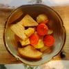 厚揚げと大根の煮物、ちくわ天ぷら、さつま揚げ