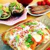 里芋餅のピザ。牛蒡のアボカドサラダ。鰹ジャーキー。自然薯味噌汁