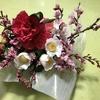 母の植えた「啓翁桜」を姉が生け花に