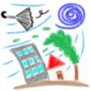 絵日記風クレヨン画「台風」