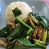 タイのカリカリ豚肉と菜っ葉炒め⁉  カオ カナー ムーグロープ ข้าวคะน้าหมูกรอบ Kao kana mu krop
