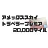 アメックススカイトラベラープレミアキャンペーン20,000マイルで入会【2018年最新版】