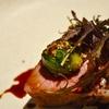 代々木上原の「sio」でランチコース2(岩中豚のロティ、カブと柚子のスパゲティ、キンメの鱗カリカリ焼き中華風ソース、野菜のコンソメ他)。