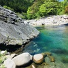 滋賀県 奥永源寺 もみじの里松原オートキャンプ場 目の前の川で飛び込みや浅瀬で水遊びも