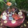 ベランダのきのこテーブルでおやつ☆*:.。. o(≧▽≦)o .。.:*☆