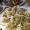 香港で海鮮:シャコの塩コショウ揚げ、帆立の春雨ニンニク蒸し、マテ貝の豆鼓炒め、苦瓜とお魚の旨煮炒め、蒸し魚、などなど