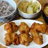 今日の食べ物 朝食に鶏の唐揚げとキャベツの煮物