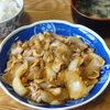 今日の食べ物 朝食に豚肉と玉葱の炒め物