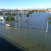 台風21号により新横浜公園が湖になる