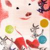 シールステンシル+消しゴムハンコ「ふしぎなキャンディー屋さん」
