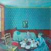 お茶をすてきな青い部屋で