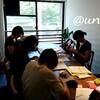 レッスンレポート)8/19本川町教室 各々お好きな物を編んでいます。