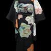 黒地葉に刺繍絵羽着物×市松に帆船切りビロード名古屋帯