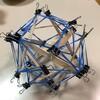 アイス棒で12本のテンセグリティを作る。ダブルクリップによる改善編