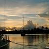 セントルシア ロドニー湾に沈む夕日