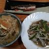 モヤシとピーマンの中華風炒めと素麺の味噌汁
