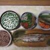 カマスの干物、三五八漬け、キムチ、納豆、シラス、ニラの味噌汁