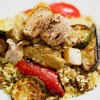 豚肩ロースのカレー煮込みと夏野菜のソテー、キノコのクスクスのレシピ
