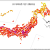1日12時までに30℃以上の真夏日になっている地点数が692・猛暑日が86地点に!気象庁は42都道府県に高温注意情報を発表!!