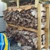 薪棚に屋根を付けました。