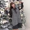 【韓国ファッション】レディース セットアップ チェック柄ワンピース グレー ニットベスト