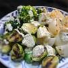 野菜のグリル、へしことヨーグルトのソースかけ