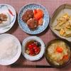 常備お惣菜とお裾分けお惣菜の即席夕ごはん。